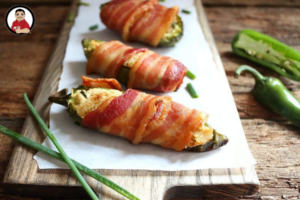 Jalapeno poppers, appetizers, bacon-wrapped jalapeno poppers