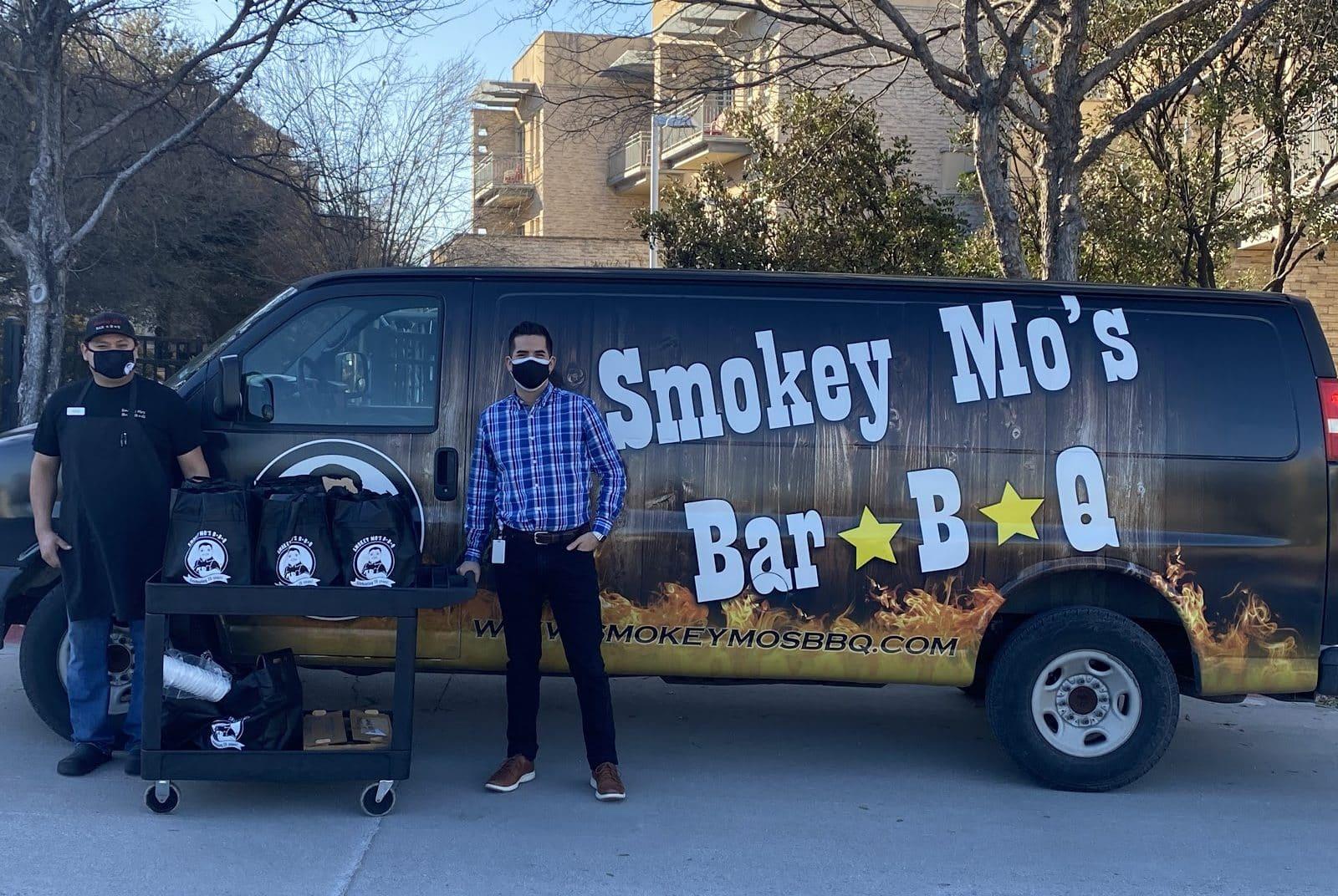 Smokey Mo's van delivering BBQ to Ronald McDonald House, Austin.